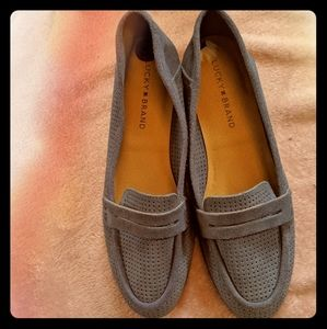 NWOT Lucky Brand Blue Perforated Suede Loafers